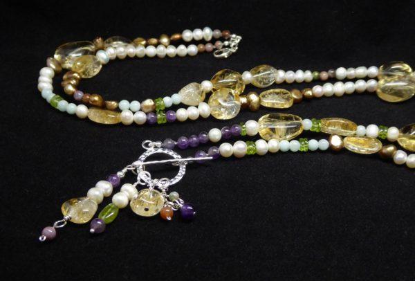 Citrine, Pearl, Amethyst, Peridot long neckace