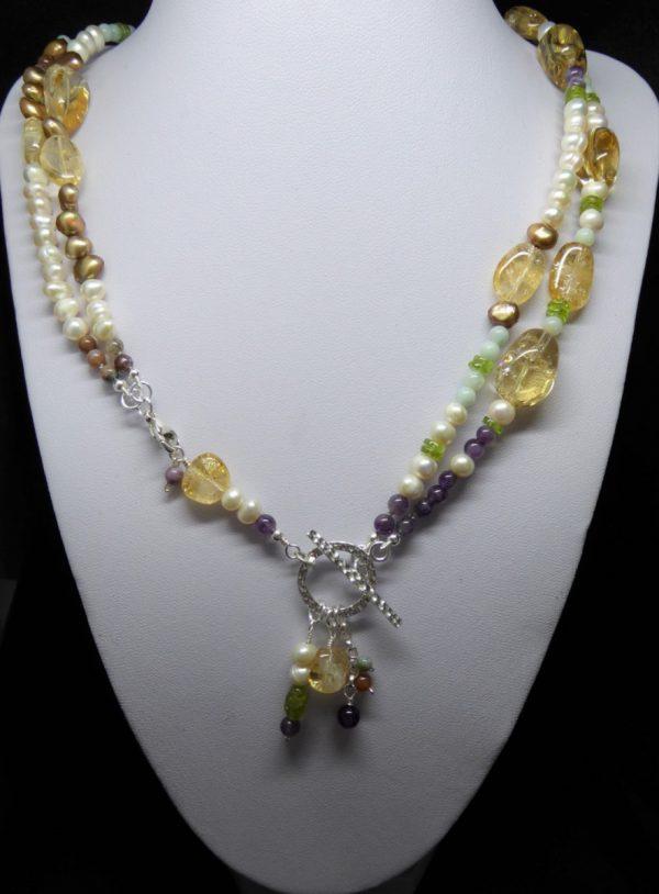 Citrine, Pearl, Amethyst convertable neckace