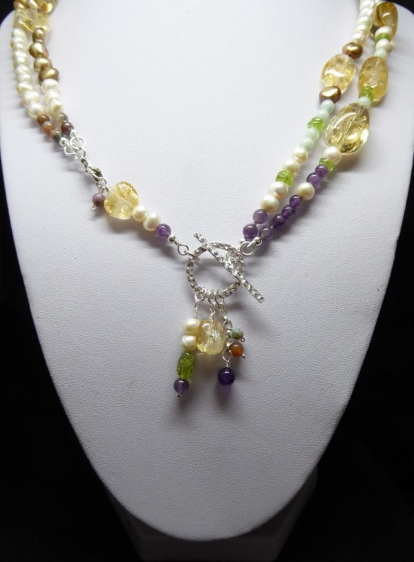 Citrine, Pearl, Amethyst convertable neckace clasp view.