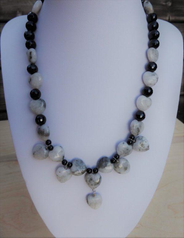 Quartz Pyrite Hearts and Onyx Beaded Necklace