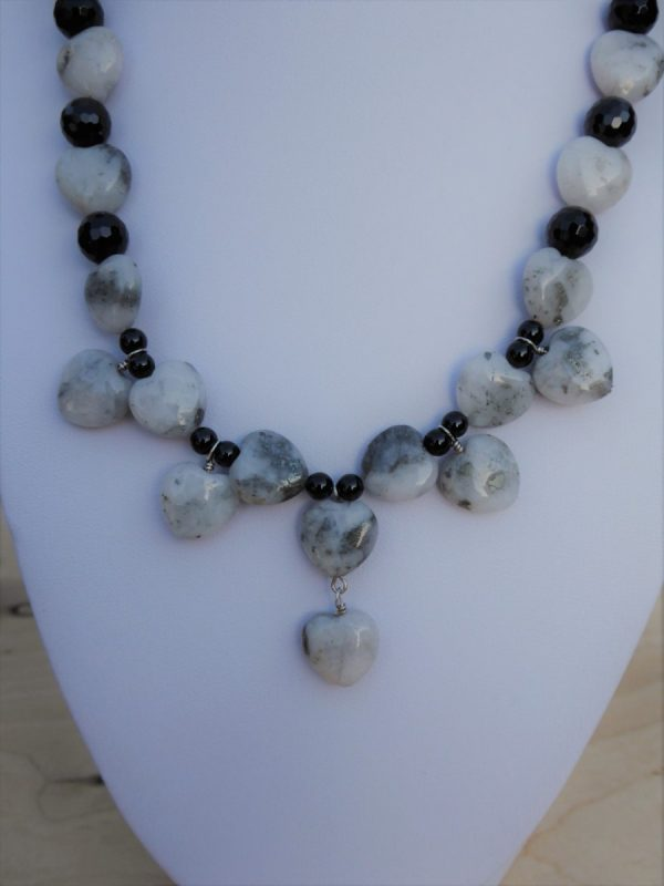 Handmade Necklace of Quartz Pyrite Hearts front close up
