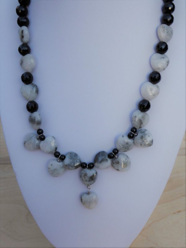 Necklace Quartz Pyrite Hearts with Onyx Beads.