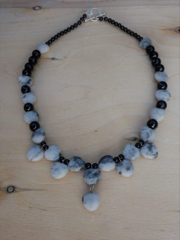Necklace Quartz Pyrite Hearts