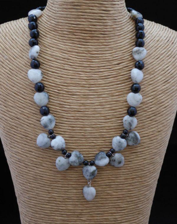 Necklace Quartz Pyrite Hearts and Onyx.
