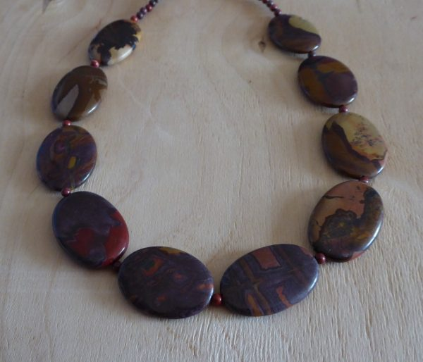 Necklace jasper ovals, autumn colours with spacer beads.