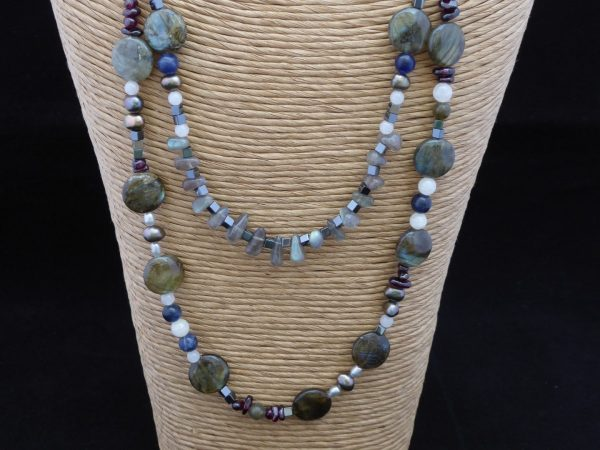 Necklace Labradorite 2 row front close up