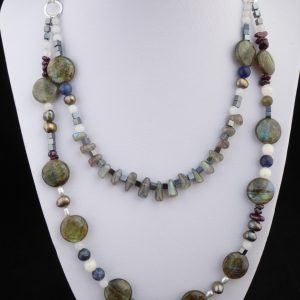 Necklace 2 rows Labradorite wonderful shapes and flashes of colour.