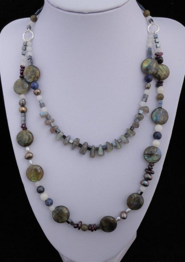 Labradorite 2 row necklace on white display