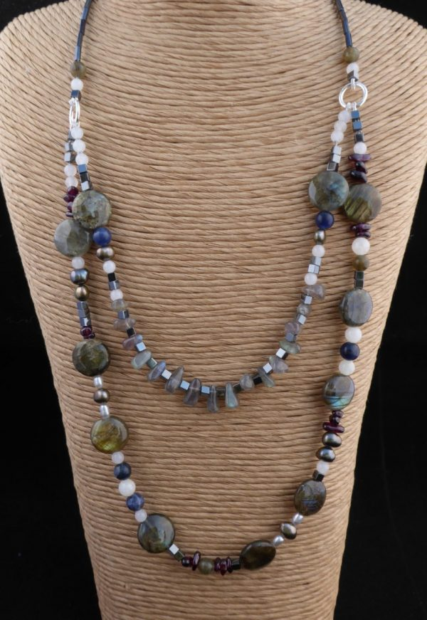 Labradorite 2 row necklace coin shapes, teardrops, other beads