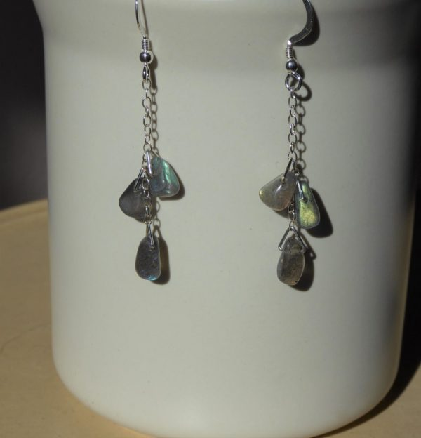 Earrings chain with Labradorite drops