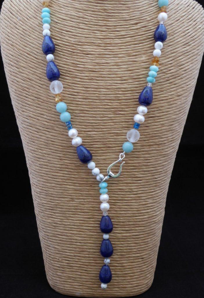 Necklace, lapis lazuli teardrops, lariat loop