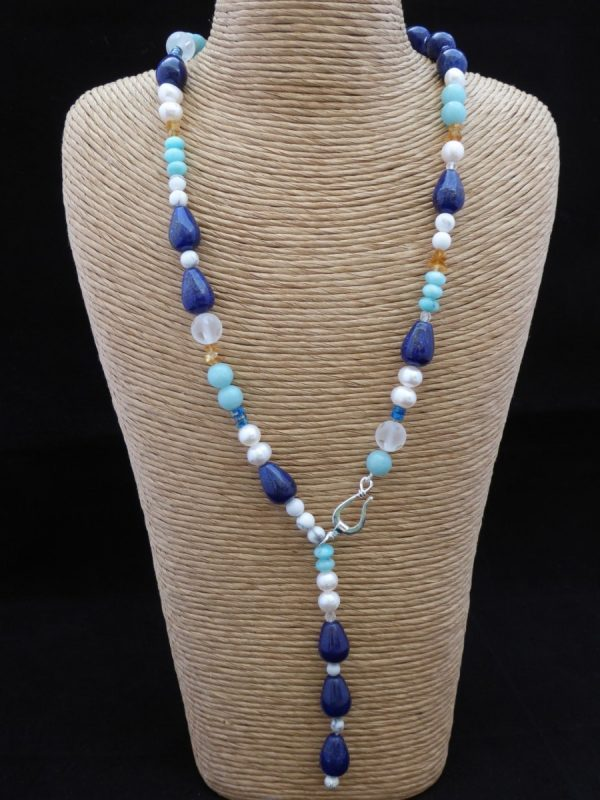 Lariat necklace, Amazonite and Lapis lazuli, Pearl, silver clasp