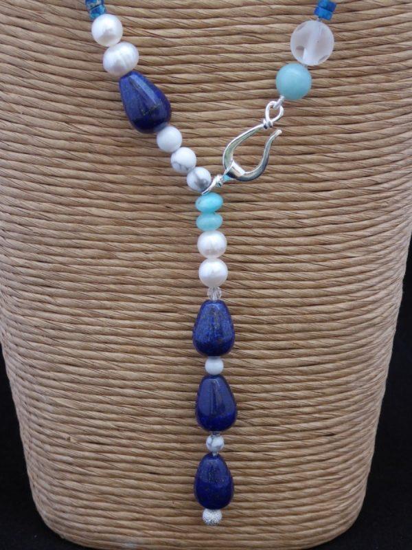 Necklace front close up, pearl, lapis lazuli, amazonite.