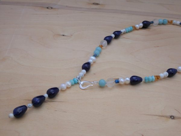 Lariat necklace, Amazonite and Lapis lazuli