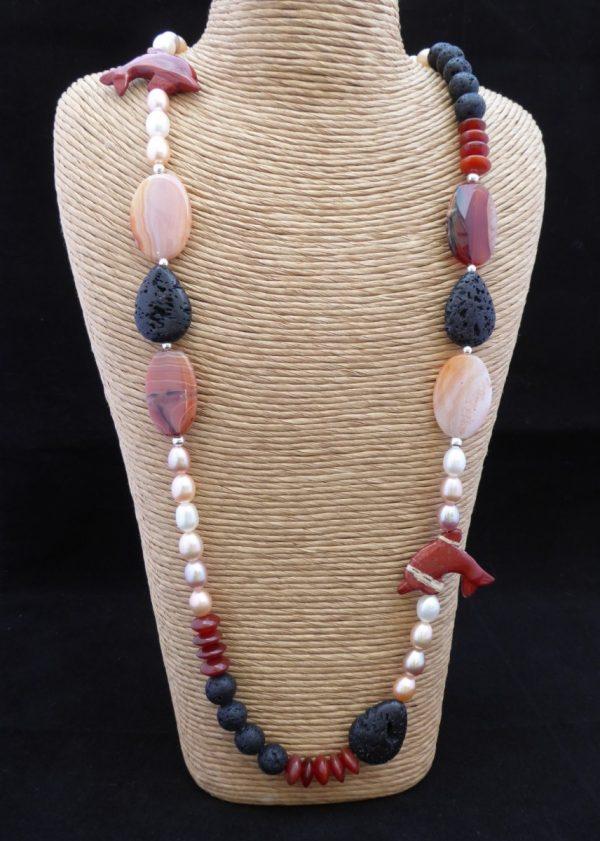 Long necklace, Cornelian. earl, Lava bead