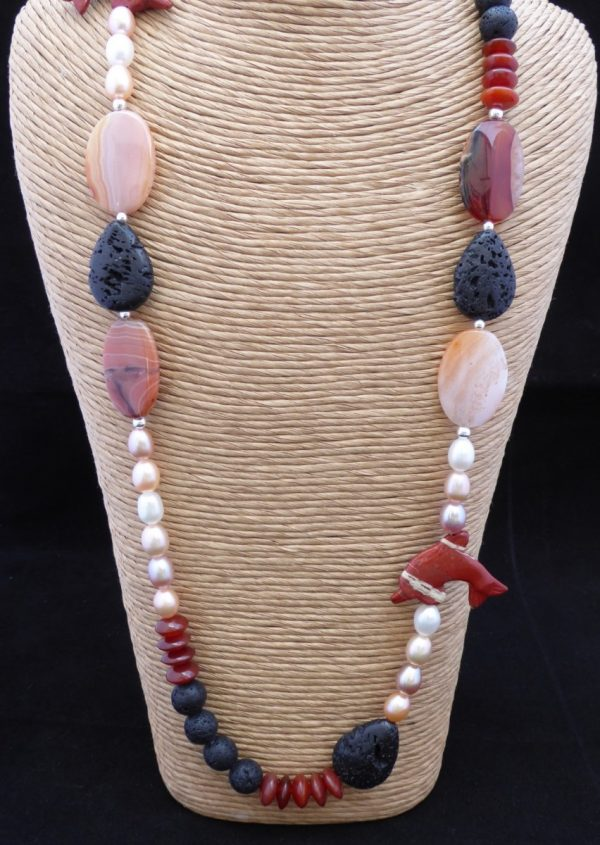 Necklace close up front, Cornelian,Pearls and Lava beads.