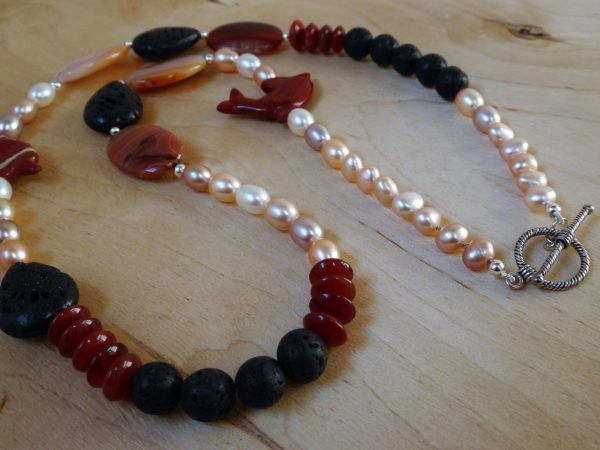 Clasp view, long Cornelian and pearl necklace