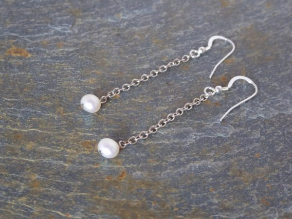 Pair pearl silver chain drop earrings