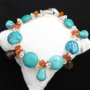 Turquoise coins bracelet with cornelian chips and drops