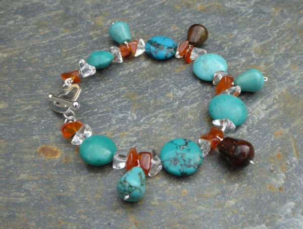 Turquoise bracelet silver heart clasp