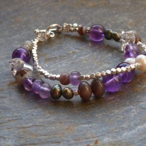 Handmade Amethyst and Haematite 2row beaded bracelet