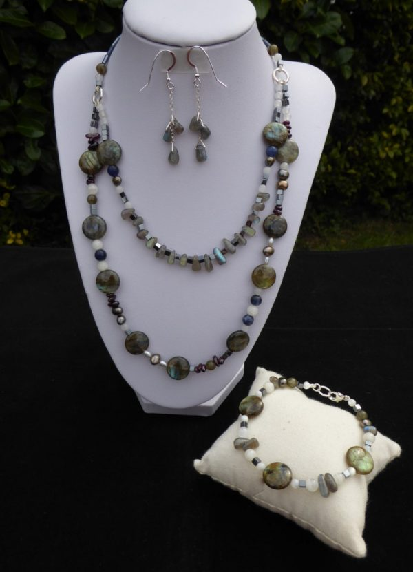 Labradorite 2 row necklace, earrings and bracelet set on white display