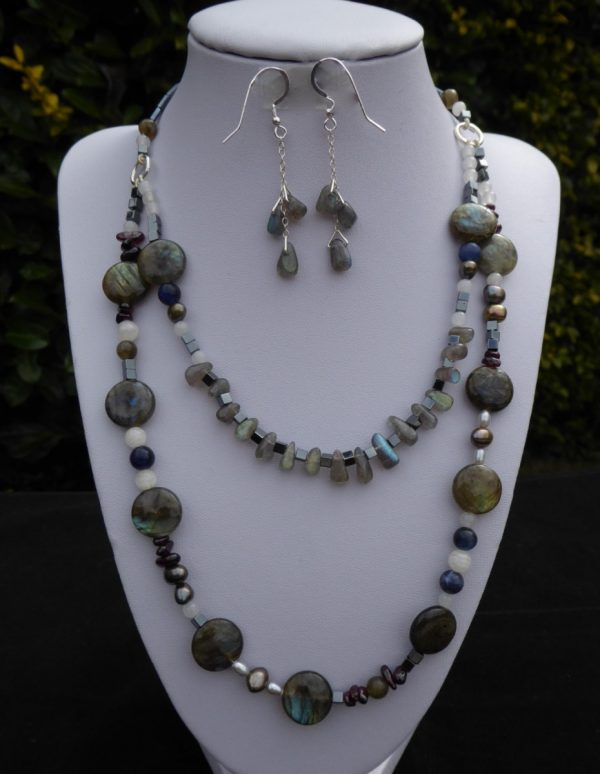 Labradorite 2 row necklace with earrings on white display