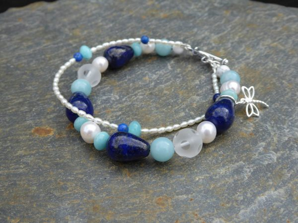 Lapis lazuli teardrops bracelet with 2nd row of tiny pearls