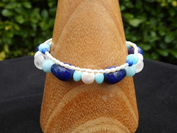 Lapis lazuli, Amazonite and Pearl 2 row bracelet.