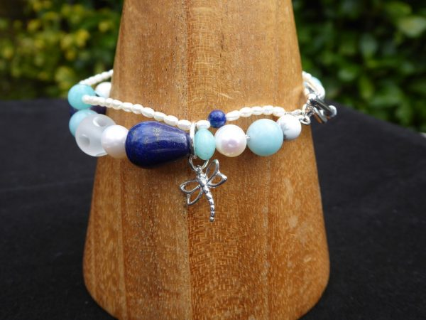 2 row lapis and pearl bracelet and silver dragonfly.