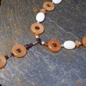 Cornelian Donut Gemstone Necklace front detail on slate