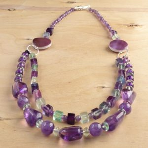 Purple Amethyst and green Fluorite 2 row necklace